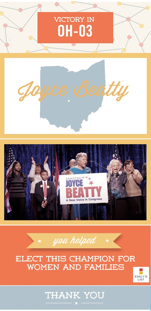 You helped elect Joyce Beatty, a champion for women and families. Thank you! #oh03 #politics #women #emilyslist