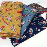 New bonito 3 cores 48 x 48 cm aves impresso zakka linho tecido de algodão tecido DIY
