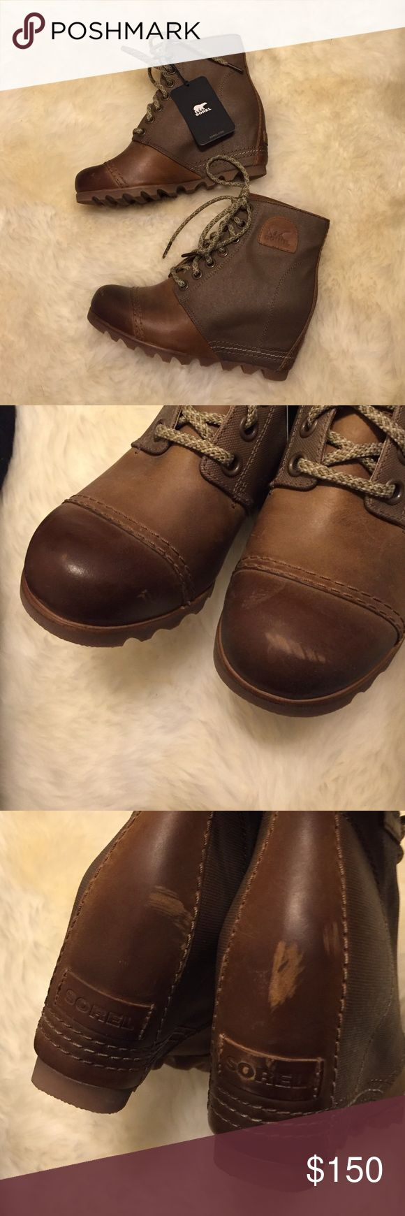 Sorel premium wedge 1964 NWT 8 NWT very cute sorel wedge boots. These still have the tags, have never been worn besides trying them on in store and around the house. They are an intentionally distress style and did come with a few marks on the leather, see above. Sorel Shoes Ankle Boots & Booties