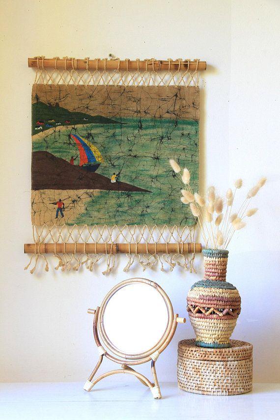 Vintage Batik Wallhanging Unique Boho Wall Art Batik Cloth Boat