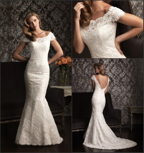 silm fitted gown off shoulder cap short sleeves lace throughout fishtail wedding dresses