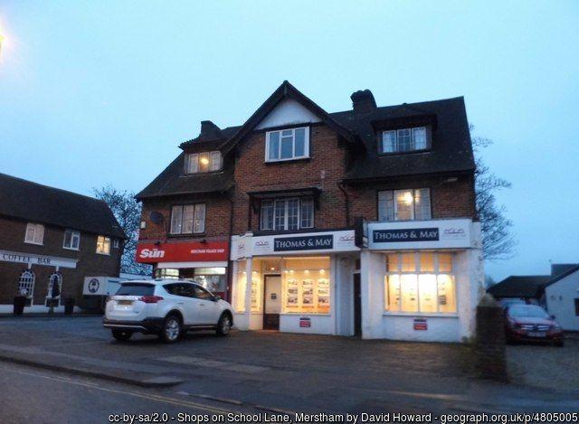 Shops in School Lane ans corner of Station Rd Merstham 2016