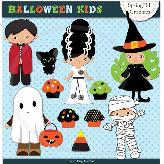 Instant Download Halloween Kids Digital Clip Art for Card ...