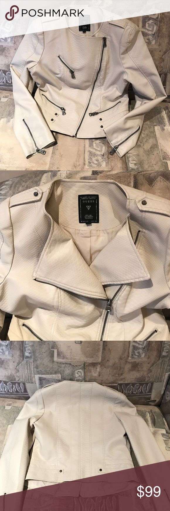 """🆕💋 Guess Moto Jacket PERFECT Faux leather cream colored reptile embossed jacket. Fully lined & machine washable! 😱 Front collar to bottom measures 19 1/2"""". Chest is 19 3/4"""" flat. Sleeve from top of shoulder to end is 25"""". Back measures 19"""". Brushed silver accents and zippers. Please ask questions, I'm happy to answer 😃👍💋 Price firm unless bundled! 😉💖 Guess Jackets & Coats"""