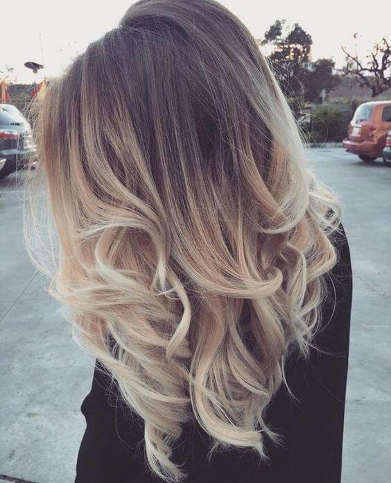 Blonde ombre medium length hair
