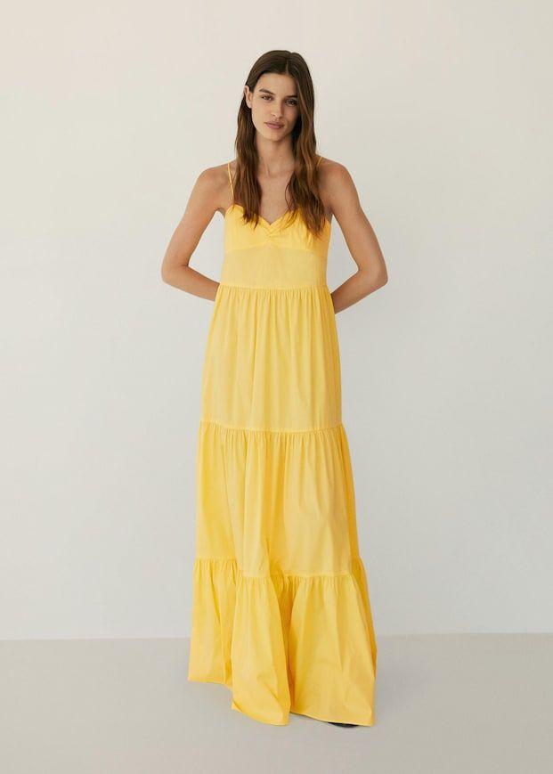 Vestido Popelin Volantes Mujer Mango Espana In 2020 Kleider Damen Kleider Fur Frauen Lange Kleider