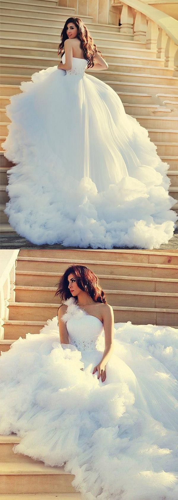 NEW! Fashionable Tulle & Satin One-shoulder Neckline A-line Wedding Dresses With Beaded Lace Appliques