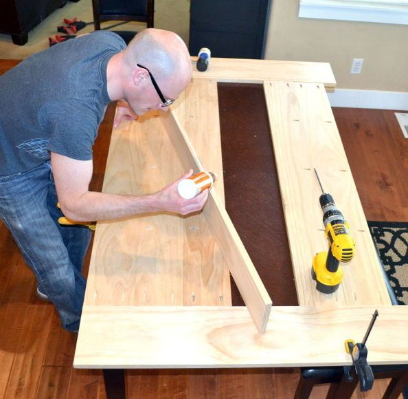 DIY table top for an existing table made with planks.