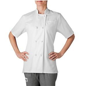 Designed with your wallet in mind, this short sleeved women's chef coat is crafted in a durable, wrinkle-resistant fabric that fits in with all chef uniforms. Made with cloth-knot buttons and square french cuffs this chef coat provides a traditional and classic look. Tailored at the shoulders and hips, this chef coat fits a woman's figure. Available in two colors. $21.95