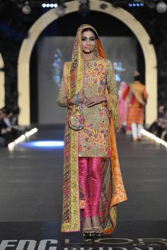 Floral suit by Nomi Ansari at PFDC Bridal Week 2013.