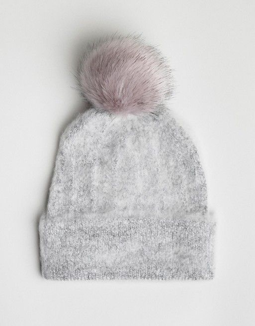 b2605d1c38a DESIGN fluffy beanie with faux fur pom in 2019