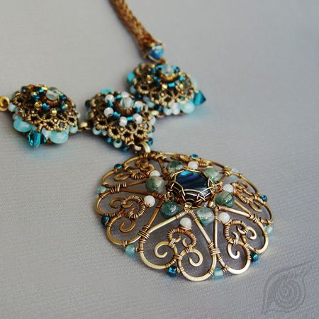 necklace Lady Pu-er; brass, filigree, paua shell, agate, turquise, coral, aquamarine, czech glass beads, rocail; wire-wrapping and viking knit; by Nady (http://www.nady.cz/nahrdelniky/nahrdelnik-lady-pu-er-190/)