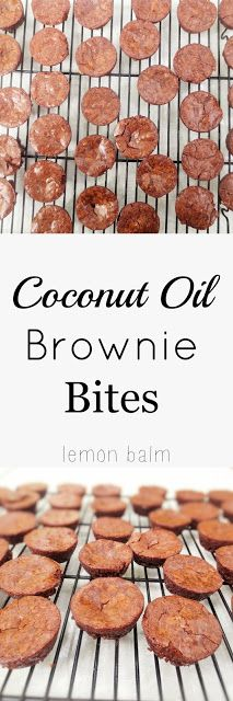 Coconut Oil Brownie Bites - http://macthelm.blogspot.com/ Crazy easy and delicious brownie bites made with coconut oil! Perfect dessert to make with kids!