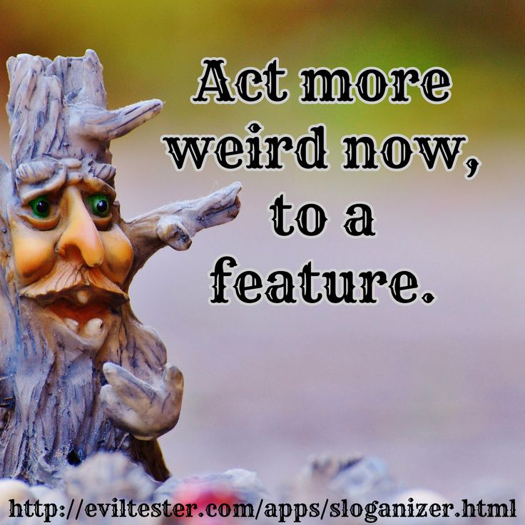 Act more weird now, to a feature. / http://eviltester.com/apps/sloganizer.html