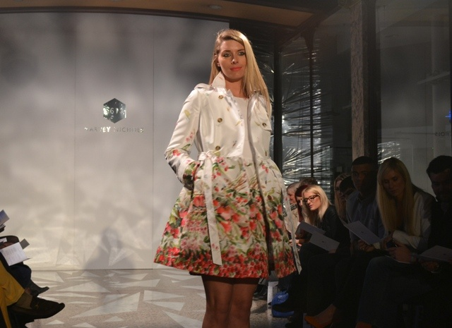 Red Valentino floral trench coat @ Harvey Nichols Leeds SS13 fashion show