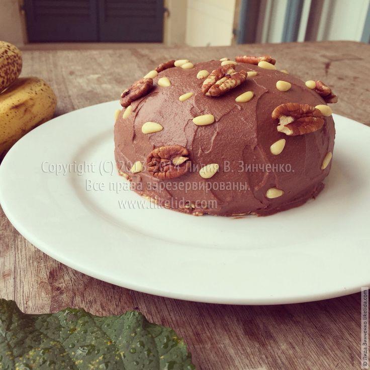 Банановый пирог с шоколадным кремом из орехов пекан (без муки, веганский, подходит для сыроедов)