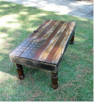 If i ever have a rustic den or cabin, i am totally doing this! Old Barn Door American Flag coffee table