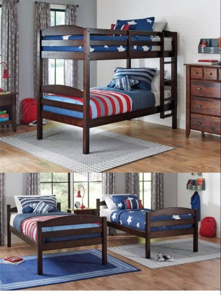 Wooden Twin Over Bunk Bed 2 Kids Beds Solid Wood Bedroom Furniture With Ladder #WoodenTwinOverBunkBed