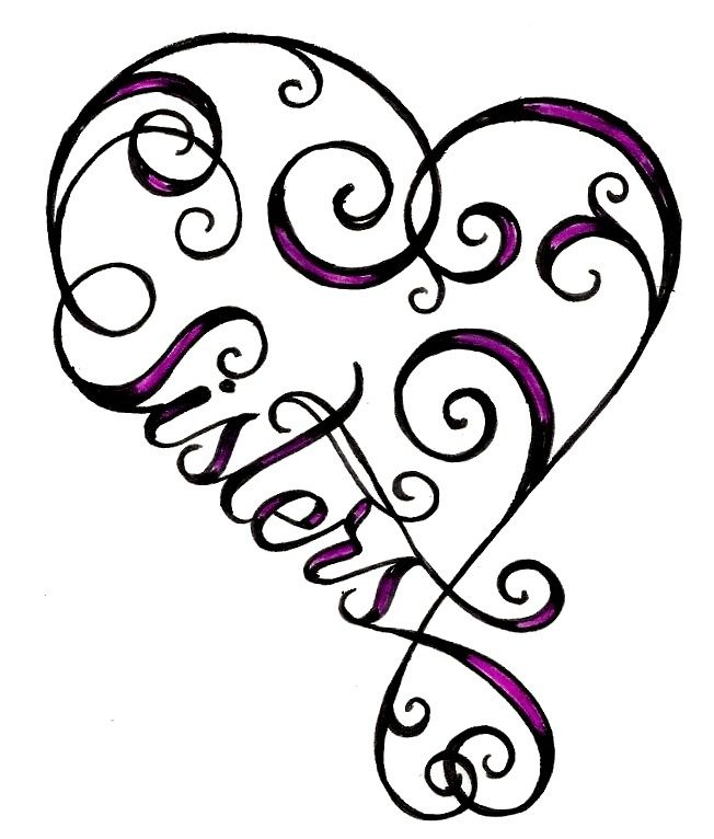 heart sister tattoo..soon cute.Would so get this with my sis but less swirly things lol.