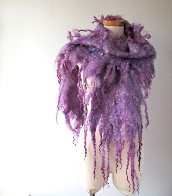 Felt Fur Curly scarf lilac purple Hand Felted Pure Real Wool Fleece by FeltFur Organic and Cruelty Free. Ready to ship Other furs rugs available https://www.etsy.com/uk/shop/FeltFur Our FB page https://www.facebook.com/FeltFur