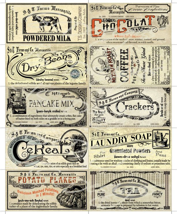 Vintage Kitchen Labels: Vintage Pantry Labels- Set 2 By TSDesignsUS On Etsy