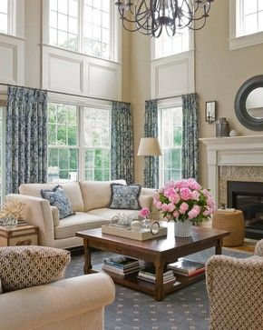 Trim / millwork for two story windows.....Cathedral Living Room traditional living room