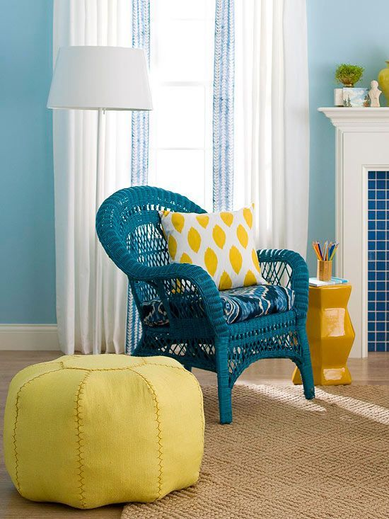 Personalize a wicker chair by spraypainting it a bright color More