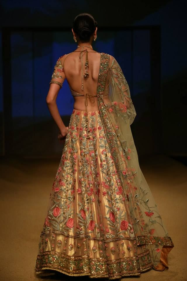 Ashima & Leena Jashn Collection Gold #Lehenga With Floral Motif Embroidery At BMW IBFW 2014.
