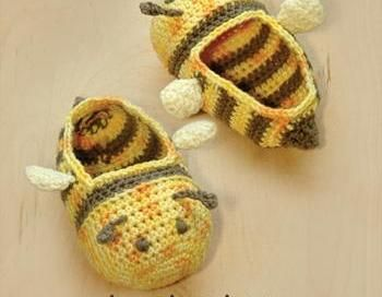 Bumble Bee Baby Booties Crochet PATTERN, SYMBOL DIAGRAM (Pdf) - for purchase - bjl