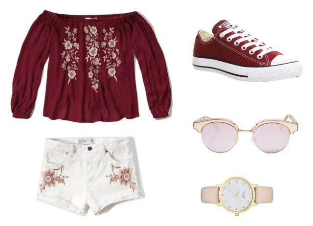 """Untitled #1"" by lulu-kan on Polyvore featuring Abercrombie & Fitch, Le Specs, Converse and Kate Spade"