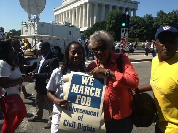 Sherrilyn Ifill ‏@Sifill_LDF Me and Donna Brazile, with her vintage posters from the 20th anniversary of the #MarchOnWashington pic.twitter.com/z1MmnlUG96