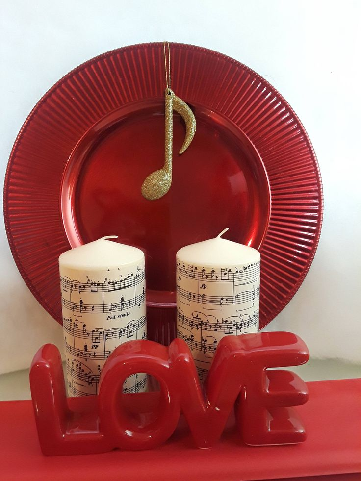 Vintage Music Decorated Candles - Great Valentine gift for a music lover - optional candles available