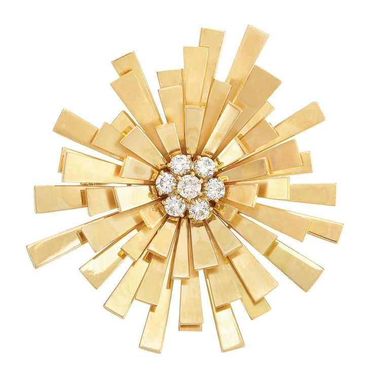 Gold and Diamond Sunburst Brooch, Cartier, London