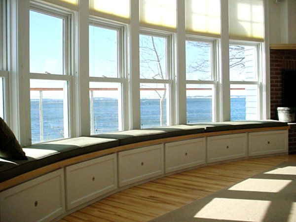 bay window seating with individual storage drawers below