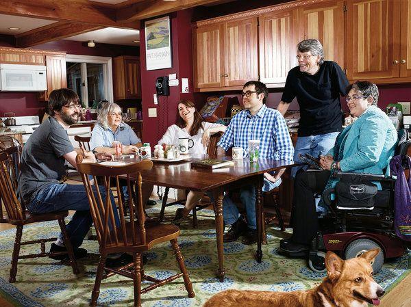 Stephen King and family - Joe Hill, Tabitha King, Kelly Braffet, Owen King, Stephen King, Naomi King and Joe's dog, McMurtry. Photo: Barbel Schmidt for NYT