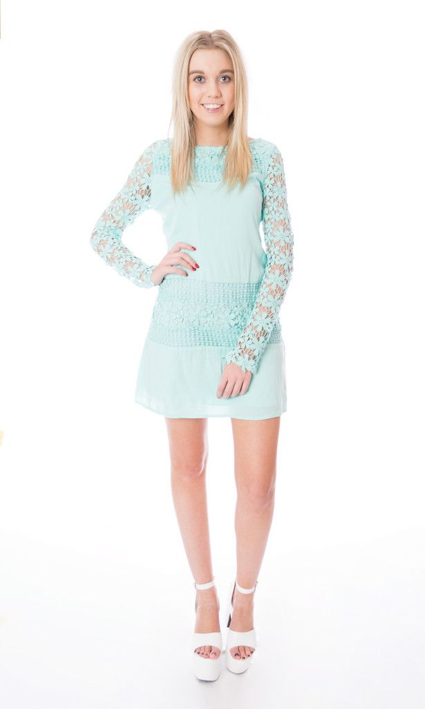 Teal lace long sleeve dress Click to buy now