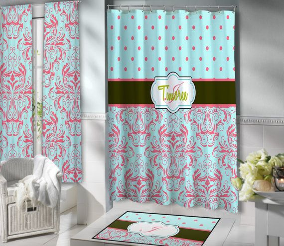 Such a Beautiful Shower Curtain, I love this minty, coral, and Green color combination, have it Personalized for FREE.
