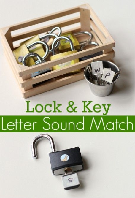 Love this.  work on fine motor, and you know you are successful when the lock opens.  Fun letter sounds activity for kids learning to read.