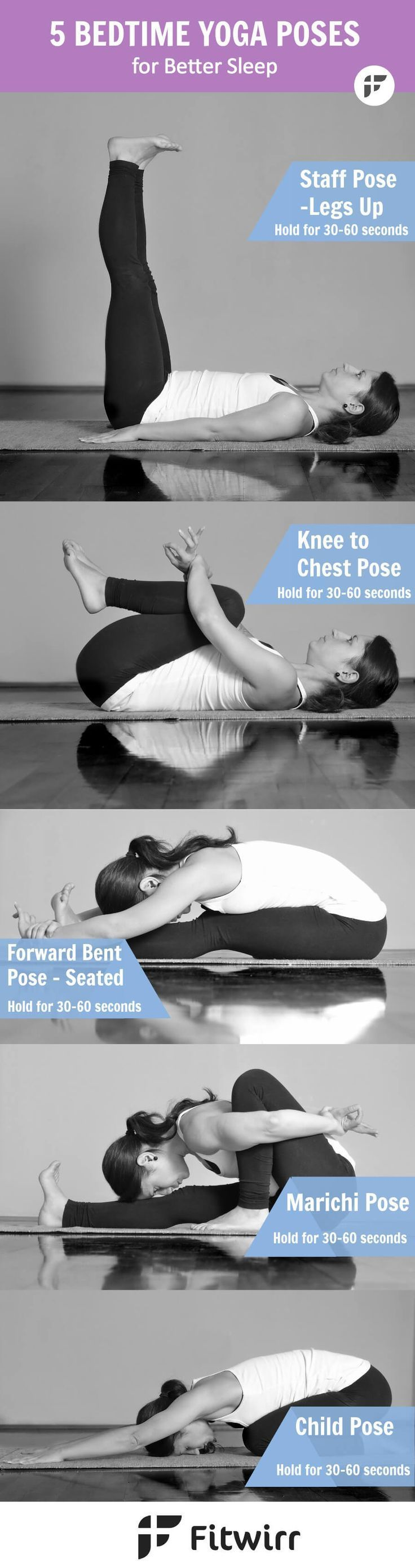 Sometimes what your body and mind need the most is to feel calm and relaxed, specially after a hard day at work. Here are five bedtime Yoga poses that can help you relax, stretch, calm and sleep better. get better sleep, sleeping tips