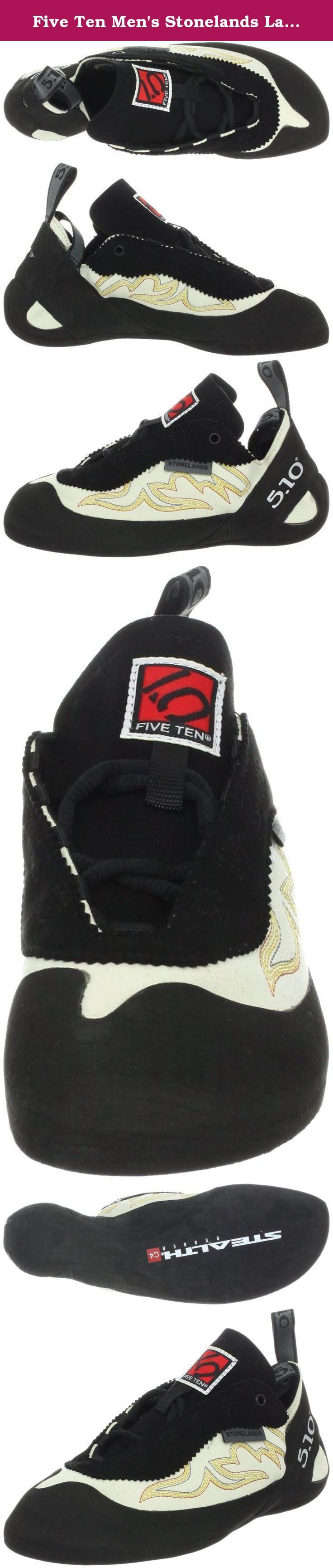 Five Ten Men's Stonelands Lace Climbing Shoe,White Sands/Black,5.5 M US. Five Ten, the Brand of the Brave, is a leader in performance, high-friction footwear. From downhill mountain bike racing to rock climbing, from wing suit flying to kayaking, Five Ten makes footwear for the world's most dangerous sports. The Redlands, California-based company has been producing cutting-edge designs and proprietary Stealth rubber soles for nearly 30 years. With the help of top national and…