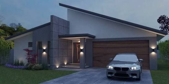 Contemporary single story house facades australia google for Skillion roof house designs