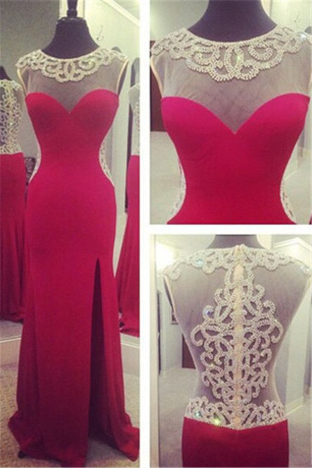 Cap Sleeve Evening Dresses with Beadings