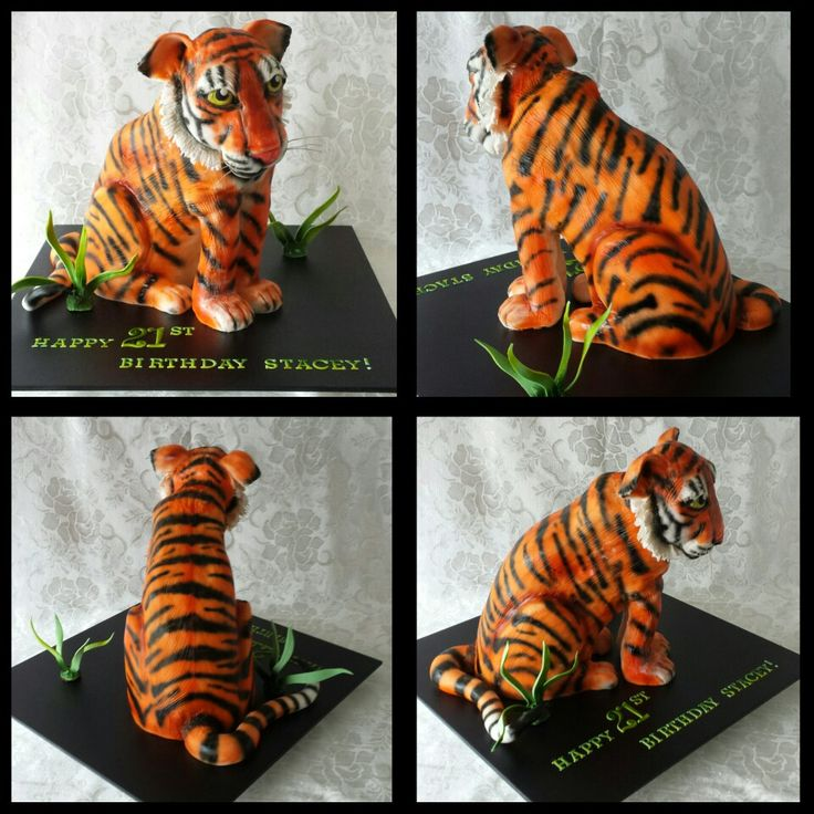 3D sculpted tiger cake. airbrushed.