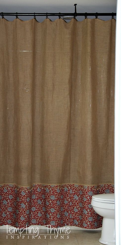 Hometalk :: Easy No Sew Burlap Shower Curtain