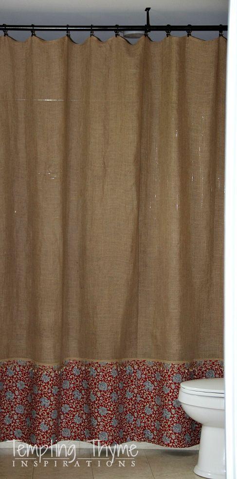 Hometalk :: Easy No Sew Burlap Shower Curtain