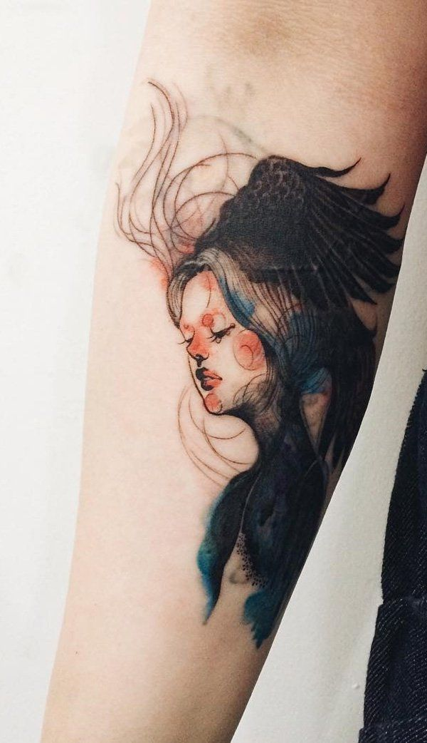 Illustration style girl pottrait sleeve tattoo - This one could be a praise for a woman's grace and allure, wonderfully captured in this tattoo design.