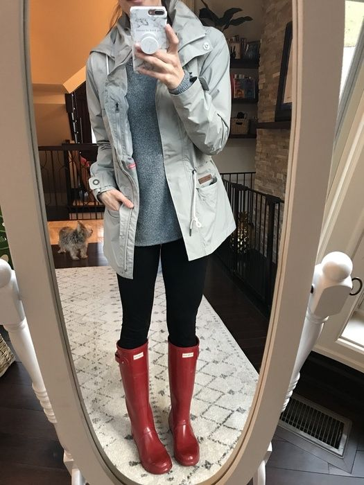 Shop the Look from mykindofsweet - ShopStyle | rainy day style | red hunter boots | rain jacket | spring style | casual outfit idea | mom style #fashion #style (affiliated)