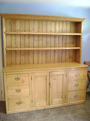 VERY GOOD QUALITY LARGE PINE VICTORIAN HOUSEKEEPERS DRESSER | eBay