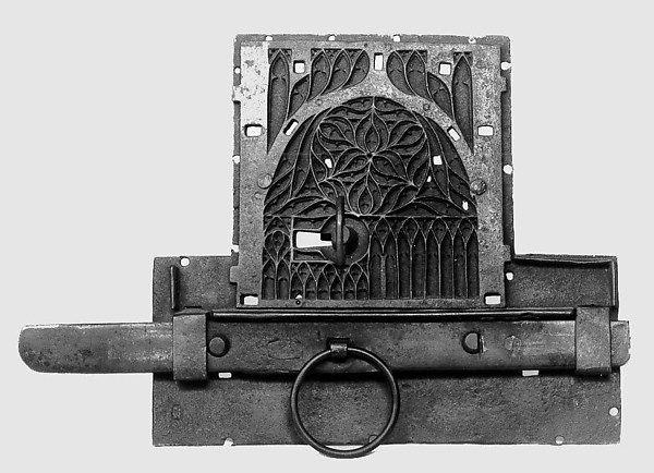 Lock Date: 15th–16th century Culture: European Medium: wrought iron Dimensions: Overall: 10 3/16 x 14 15/16 x 1 15/16 in. (25.9 x 37.9 x 5 cm)