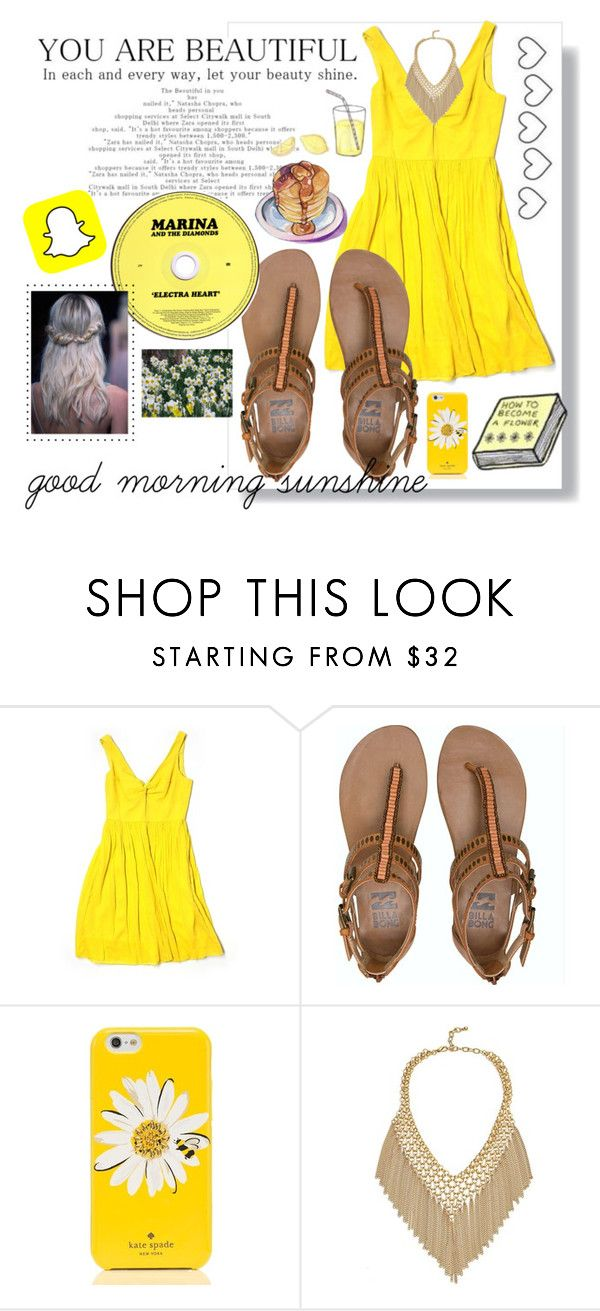 """yellow morning"" by camilazeballo on Polyvore featuring moda, J.Crew, Billabong, Kate Spade y Magdalena"